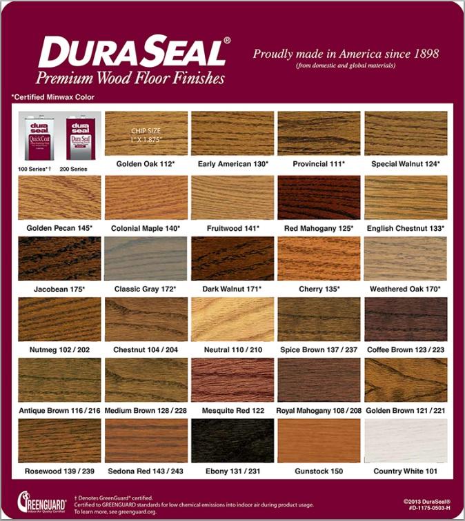 Duraseal Stain Chart Hardwood Flooring New Jersey